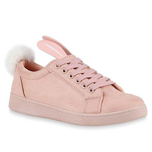 Stiefelparadies Damen Sneakers Low Fell Bommel Hasen Flache Freizeitschuhe Flandell Rosa