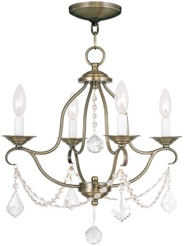 Livex Lighting 6424-01 Chesterfield 4 Light Mini Chandelier, Antique Brass