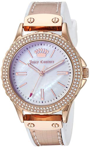 Juicy Couture Black Label Women's JC/1008IRWT Swarovski Crystal Accented Rose Gold-Tone and White Strap Watch