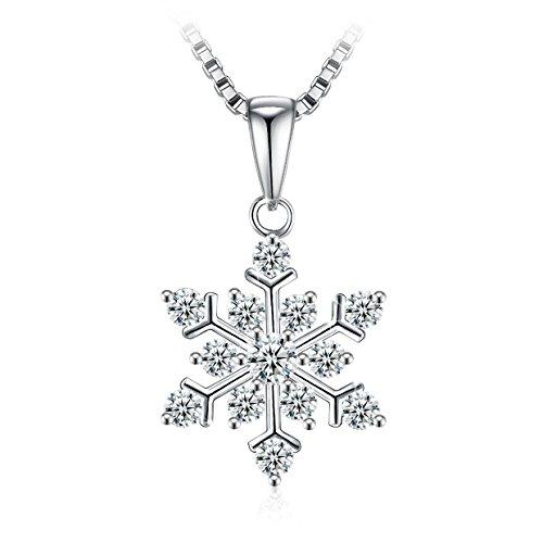 J.Rosée Collier en argent 925, pendentif neige fantaisie avec des diamants pour les femmes, filles et mères Kette-3