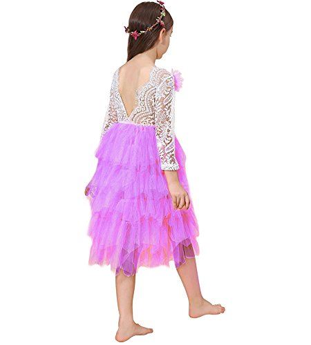 Lace Back Flower Girl Dress,Kids Cute Backless Dress Toddler Party Tulle Tutu Dresses for Baby Girls (Long Purple, 6-7Years/140cm)