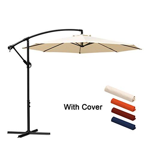 Offset Umbrella Cantilever Patio Umbrella 10 ft Outdoor Market Hanging Umbrellas & Crank With Cross Base And Cover, 8 Ribs (Beige)