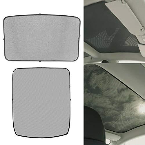 Windshield Sunshade & Car Skylight Blind Shading Net for Tesla Model 3-2 pcs Foldable Interior Front Back Visor Car Glass Sunroof Summer Anti Heat Shading Mesh(Front+Rear)