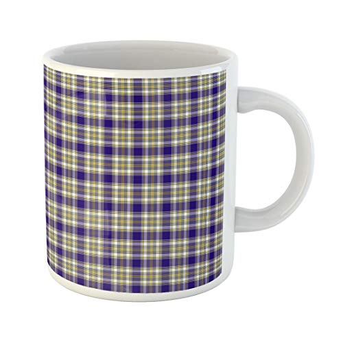 - Tarolo 11 Oz Mug Coffee Mug Ceramic Tea Cup Blue Ancient Patterned of the Clan Livingstone Dress Tartan Yellow Black Celtic Large C-handle Family and Office Gift