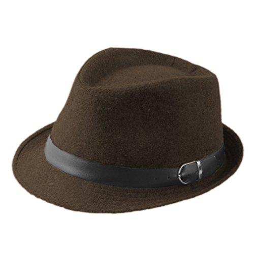 (ZHENXIA Kids Boys Girls Vintage Wool Felt Fedora Jazz Cap with Belt)