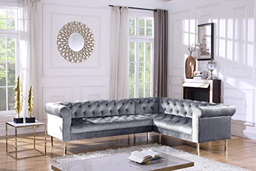 (Iconic Home FSA9210-AN Giovanni Right Facing Sectional Sofa L Shape Velvet Upholstered Button Tufted Roll Arm Design Solid Gold Tone Metal Legs Modern Transitional Navy Grey)