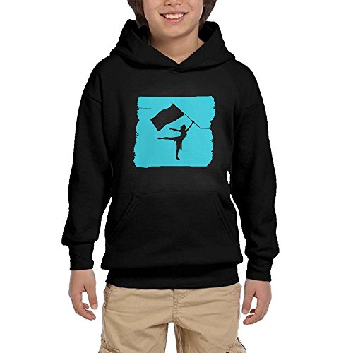 Hapli Youth Black Hoodie Cute Color Guard Hoody Pullover Sweatshirt Pocket Pullover For Girls Boys L by Hapli