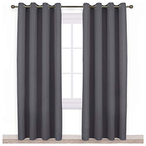 NICETOWN Blackout Curtains Panels for Bedroom - 3 Pass Microfiber Noise Reducing Thermal Insulated Solid Ring Top Blackout Window Drapes (2 Panels, 52 x 84 Inch, Gray) (Curtains Rings With)