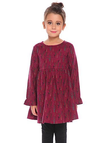 Arshiner Kids Girls Vintage 1950s Long Flare Sleeve