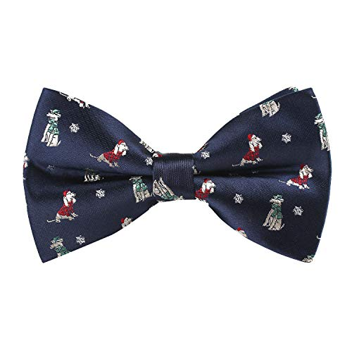 Alizeal Toddler Navy Background with Dog/Snowflake Pattern Pre-tied Christmas Party Bow Tie, 007-S (Backgrounds Dog Christmas)