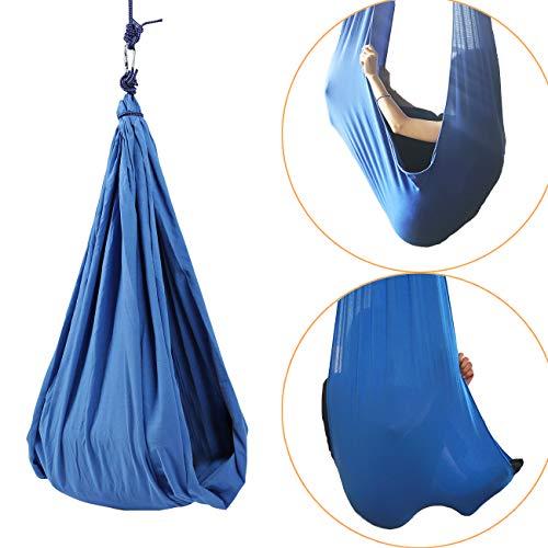 (BEAMNOVA Therapy Swing Cuddle Hammock Sensory Swing Indoor Snuggle Swing Hardware Set, 176 lbs Load Capacity, Blue )