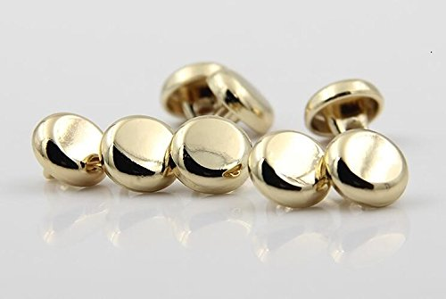 Small Shiny Mirror Mushroom Metal Shank Buttons for Fashion Shirts(Light Gold, Pack of 10)