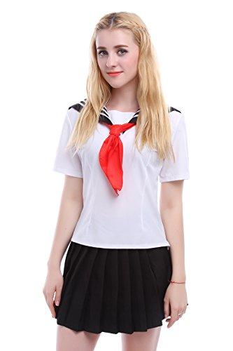 [Lemail wig Women's Japanese Jk Sailor Suit Cosplay Uniforms Plus Size] (Sailor Girl Costume Pattern)
