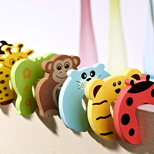 (Door Stops - 7pcs Kids Baby Cartoon Animal Jammers Stop Edge Corner Guards Door Stopper Holder Lock Safety Finger - Antique Modern White Decorative Bumpers Nickel Cast Toddler Comma Hinge Magneti)
