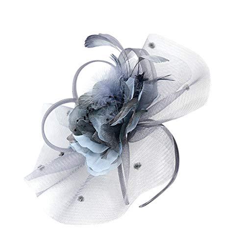 Weiliru Flower Cocktail Tea Party Headwear Feather Fascinators Top Hat for Girls and Women ()