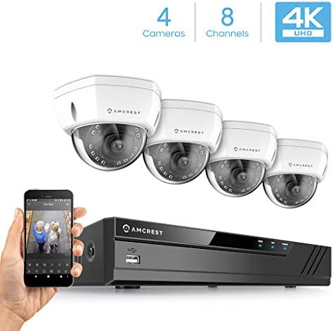 Amcrest 4K Security Camera System w 4K 8CH NVR, 4 x 4K 8-Megapixel IP67 Weatherproof Metal Dome POE IP Cameras, 2.8mm Wide Angle Lens, Hard Drive Not Included, NV4108E-HS-IP8M-2493EW4 White