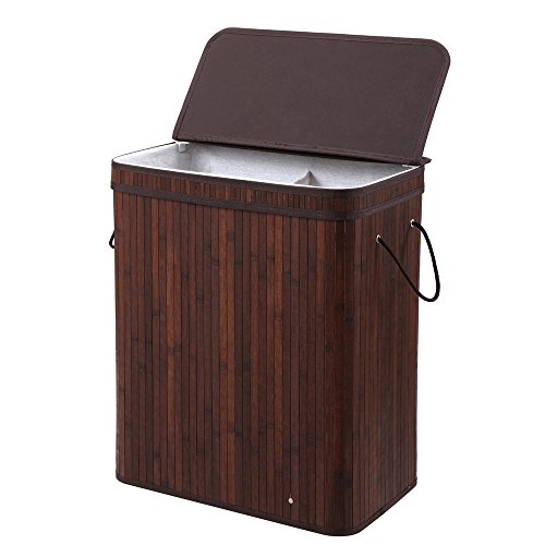 Finnhomy Laundry Basket Divided Laundry Hamper Two-section for Dirty Clothes Laundry Sorter Dark Brown Bamboo Color