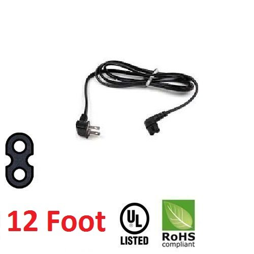 12 Foot Replacement TV Power Cord for Samsung PN 3903-000853 3903-000599 90° Angled 2 prong Figure 8