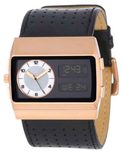 Monte Carlo Leather Watch (Vestal ' Monte Carlo' Quartz Stainless Steel and Leather Casual Watch, Color:Black (Model: MCW030))