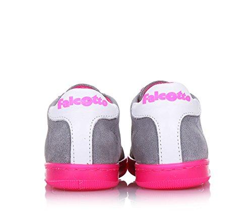 FALCOTTO - Grauer Schuh mit Schnürsenkeln aus Wildleder, ideal zum Laufen lernen und zum Krabbeln, Mädchen