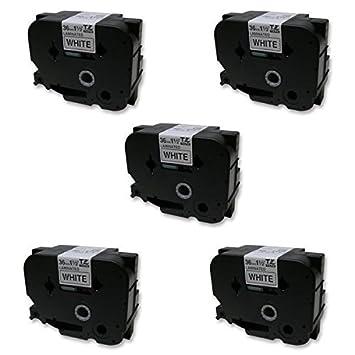 5 Casetes de Cinta compatibles con Brother TZe261 TZ261 Negro sobre Blanco 36mm x 8m para