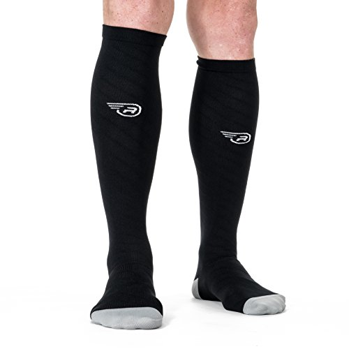 Compression Socks – Graduated Comfort Fit for Athletic Running, Nurses, Maternity, Flight Travel | Mens and Womens Compressive Stockings | Circulation, Stamina and Recovery Support (Black S/M)