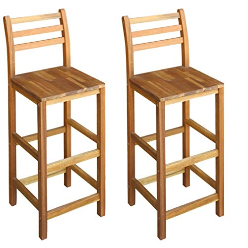 Tidyard 2 Pcs Bar Chairs with Backrests & Footrests Indoor & Outdoor Kitchen/Dining Room Decor Solid Acacia Wood 16.5