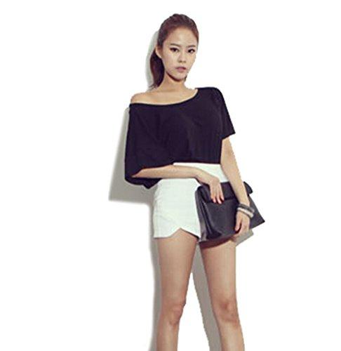Hengpuda Wome's Cotton Short Sleeve Backless Loose Blouse Black