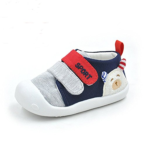 Kuner Baby Girls Boys Cotton Breathable Rubber Sole Non-Slip Sneakers First Walkers Shoes (15(Inside length-12.1cm)(12-15months), Blue)
