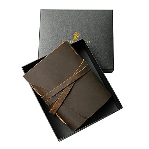 Antique Brown Handmade (7 x 5 Inch) Leather Journal Notebook/Notepad Genuine Crazy Horse Leather with Gift Box - Vintage Look, Perfect for Journaling, Travel, Sketching for Men and (Box Notebook)