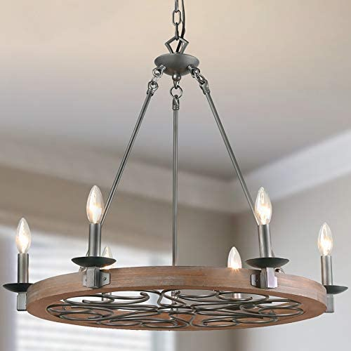 LNC A03301 Wood Farmhouse Chandeliers for Dining Rooms,Silver Pattern Ceiling Light Fixture
