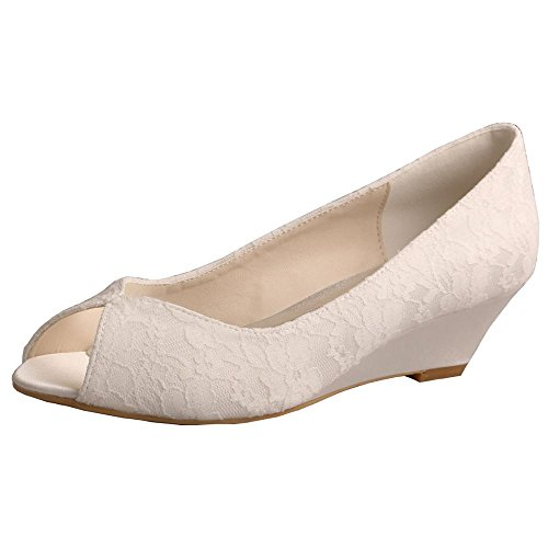 s Peep Toe Wedge Heel Lace and Satin Bridal Wedding Shoes Size 8 Ivory (Ivory Wedge Shoes)