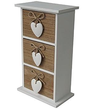 Cassettiera portagioie legno Shabby chic con cuori: Amazon.de: Küche ...