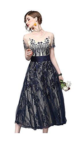 まだハンサム打倒HIMOE 結婚式 ドレス レース フォーマル ワンピース 半袖 パーティードレス 二次会 披露宴 お呼ばれ 大人 ドレス 大きいサイズ (XLサイズ)