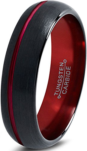 Tungsten Wedding Band Ring 6mm for Men Women Red Black Domed Brushed Polished Offset Line Lifetime Guarantee