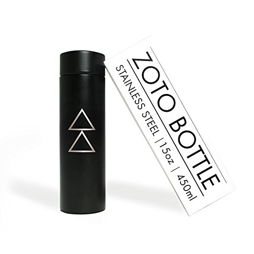 YOGA DESIGN LAB The ZOTO Bottle Premium Insulated Stainless Steel Water Bottle with Loose Leaf Tea/Fruit Infusion Filter Included | Designed to Keep Liquids Hot or Cold for 12+ Hours ()