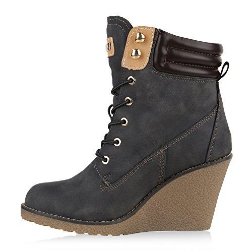 Stiefelparadies Gefütterte Damen Stiefeletten Keilabsatz Boots Profilsohle Flandell Grau