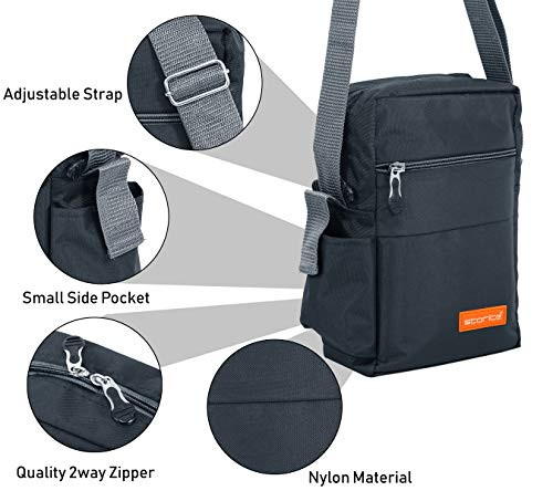 Storite Stylish Nylon Sling Cross Body Travel Office Business Messenger one Side Shoulder Bag for Men Women (25x16x7.5cm) (Dark Grey) 6