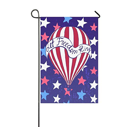 Pingshoes Hot Air Balloon American Stars Polyester Garden Flag House Banner 28 x 40 inch, Let Freedom Ring Decorative Flag for Wedding Party Yard Home Outdoor Decor