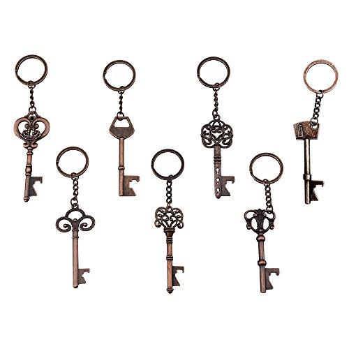 (Pack of 7) Key Bottle Openers - Skeleton Key Opening Beer Bottles Soda Bottles Keychain Key Ring For Tailgate Party or Wedding Party, Festival (Copper, Pack of 7)