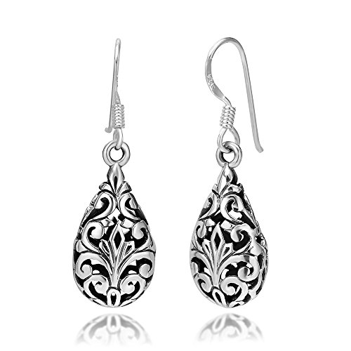 - 925 Oxidized Sterling Silver Bali Inspired Filigree Puffed Teardrop Dangle Hook Earrings