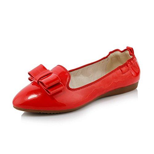 AllhqFashion Mujer Puntera Redonda Mini Tacón Charol Sólido Sin cordones De salón Rojo