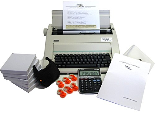 Typewriter & Calculator Small Office Package with Large Dark Printing, Dust Cover, 6 Ribbons & Correction Tapes.