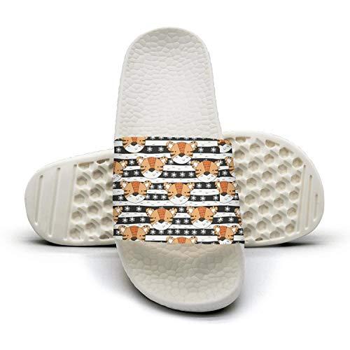 (Attractive Women Cute Slipper Tiger Head Striped Stars White Comfortable Open Toe Flat Home Flip Flops)