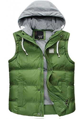 J SUN 7 Men's Winter Thicken Puffer Coat Stand Collar Cotton Vest Removable Hooded Gilet Outwear