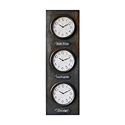 NIKKY HOME Vintage Silent Noiseless 3 Time Zone Clock 3 Dial Multi Time Zone Large Wall Hanging Clock, 42 x 13 inch