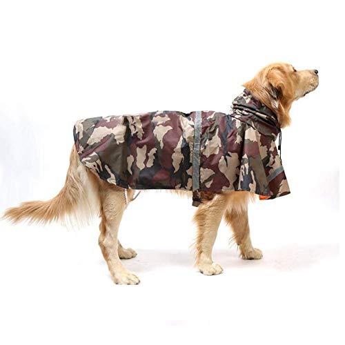 PUPWE Dog Raincoat,Large Dog Raincoat Ajustable Pet Waterproof Clothes Lightweight Rain Jacket Poncho Hoodies with Strip Reflective-SizeXL