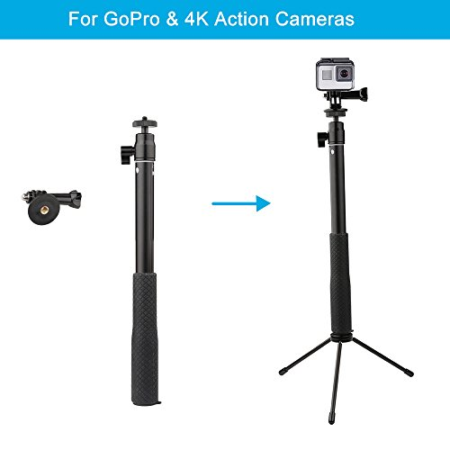 YiSeyruo Selfie Stick Extendable Monopod with Tripod Stand for GoPro Hero 8/7/6/5/4/3+/3/2/1/Session, DJI Osmo Action Camera, Samsung Gear 360,4K Action Camera, Ricoh Theta S,and Cell Phones