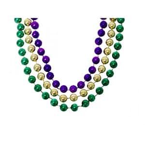 Toomey's Mardi Gras 12 Dozen 60-Inch 12MM Round Throw Beads in Purple, Green and Gold - M-60-12 ROUND PGG 12dz