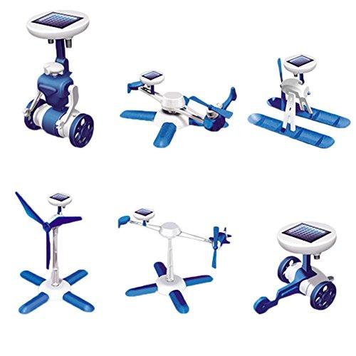Zeroyoyo 6 IN 1 Solar Toy Educational DIY Robots Plane Kit Creative Children Kid Gift - Six In One Solar Robot Kit